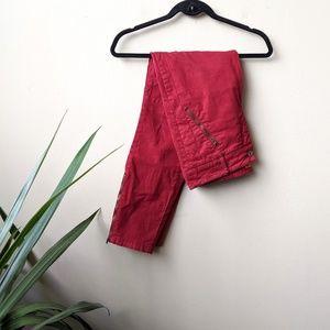 Pilcro Anthro Red Moto Zipper Skinny Pants size 8